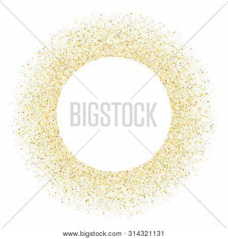 Gold Sparkles Glitter Dust Metallic Confetti Vector Background. Vip Golden Sparkling Background. Gol