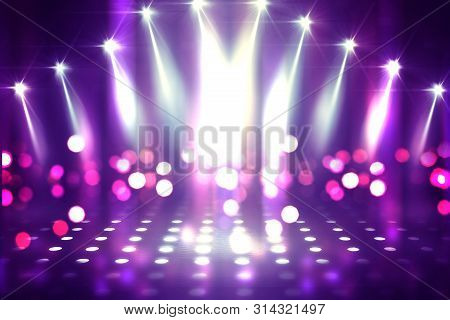 Empty Background Scene. Ultraviolet Light, Bokeh, Blurred Rays. Rays Of Neon Light In The Dark, Neon