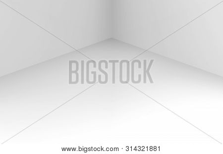 3d Rendering. Modern Simple Minimal White Corner Room Box Wall Desin Background.