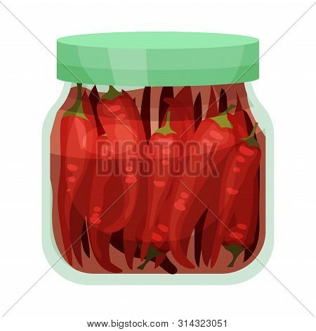 Salty Red Pepper. Vector Illustration On White Background.