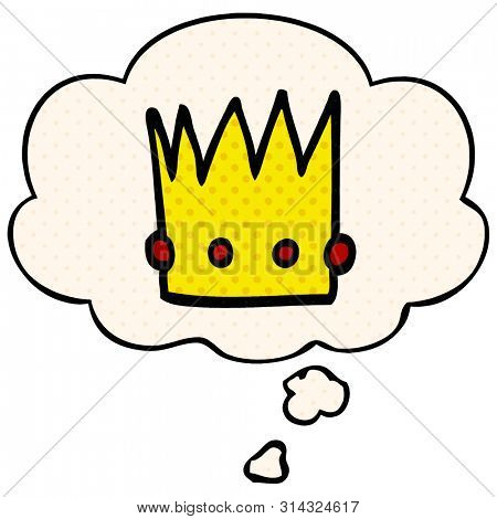 cartoon crown with thought bubble in comic book style