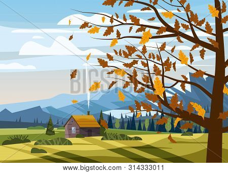 Autumn Countryside Rural Landscape Tree Yellow Red Orange Color Of Leaves Forest Farm House Fall Pan