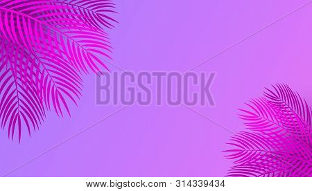 poster of Vector horizontal pink purple neon background with palm leaves, copy space. Tropical pink leaves on vibrant neon colors backdrop. Concept art, surrealism background. Summer template for text, headline