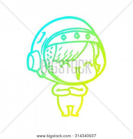 cold gradient line drawing of a cartoon laughing astronaut girl