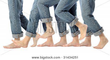 Barefoot Legs In Motion