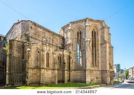 Pontevedra,spain - May 14,2019 - View At The  Ruins Of Santo Domingo Church In Pontevedra. Pontevedr