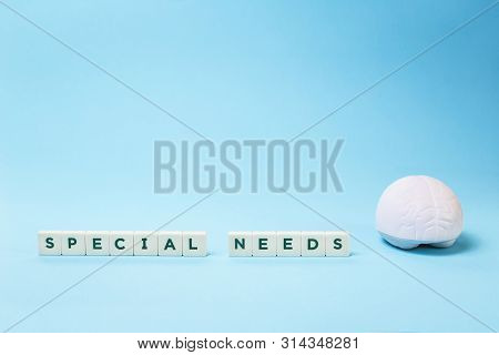Special Needs Words With A Brain Stress Relief On Blue Background, Mental Emotional Physical Disabil