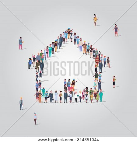 People Crowd Gathering In Home Icon Shape Social Media Community House Building Concept Different Oc