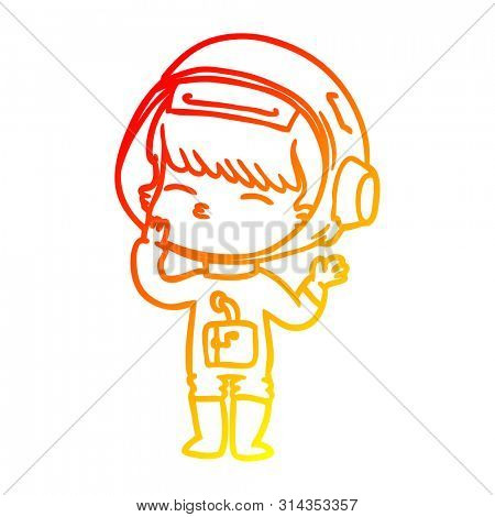 warm gradient line drawing of a cartoon curious astronaut wondering
