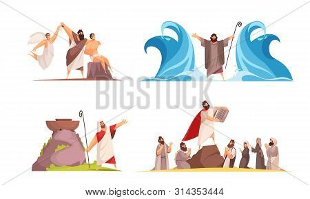 Bible Narratives Design Concept With Four Isolated Doodle Style Compositions And Iconographic Scenes