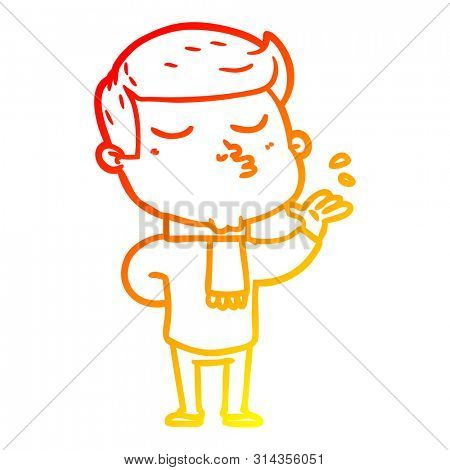 warm gradient line drawing of a cartoon model guy pouting poster