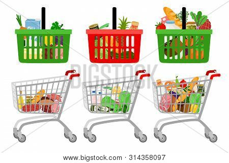 Grocery Shopping Cart And Basket. Vector Cartoon Supermarket Customer Shopping Trolley With Grocerie