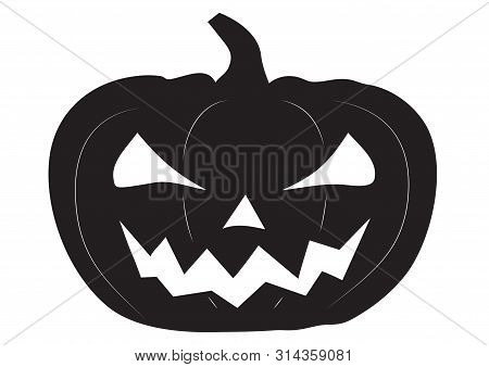 Jack O Lantern Halloween Pumpkin With Scary Face, Flat Black Isolated On White.