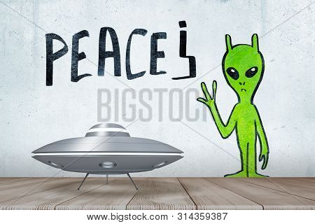 3d Rendering Of Silver Metal Ufo Above White Wooden Floor With Green Alien And Peace Sign Drawn On T