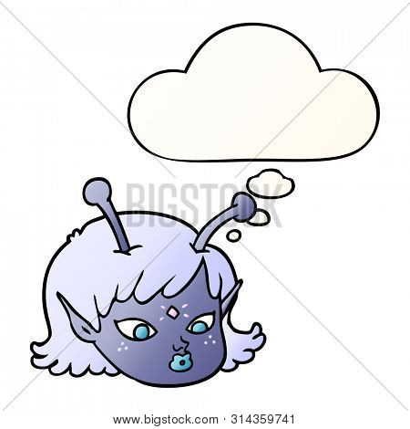 cartoon alien space girl face with thought bubble in smooth gradient style