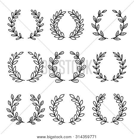 Laurel Wreath Award Icons. Simple Linear Royal Wreaths Signs, Vector Laurels Decoration Awards, Vint