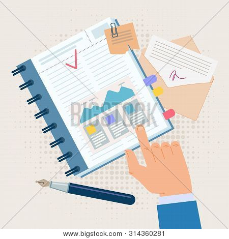 Advertising Poster Effective Diary Entries Flat. Banner Conceptual Idea Analysis And Systematization