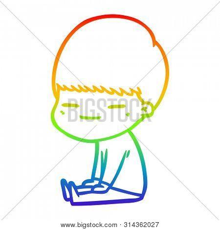 rainbow gradient line drawing of a cartoon smug boy sitting