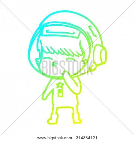 cold gradient line drawing of a cartoon curious astronaut