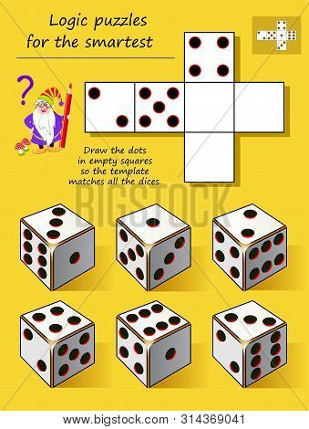 Logic Puzzle Game For Smartest. Draw The Dots In Empty Squares So The Template Matches All The Dices