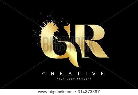 Gr G R Letter Logo With Gold Melted Metal Splash Vector Design Illustration.