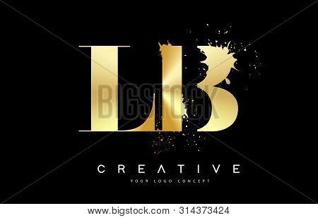 Lb L B Letter Logo With Gold Melted Metal Splash Vector Design Illustration.