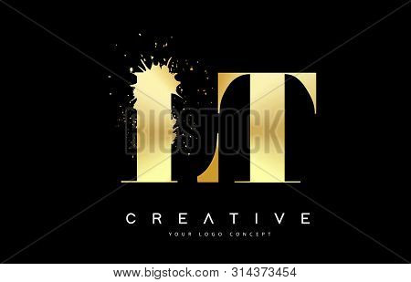 Lt L T Letter Logo With Gold Melted Metal Splash Vector Design Illustration.