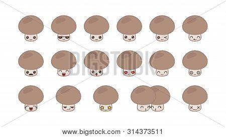 Champignon Cute Kawaii Mascot. Set Kawaii Food Faces Expressions Smile Emoticons.