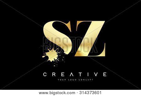 Sz S Z Letter Logo With Gold Melted Metal Splash Vector Design Illustration.