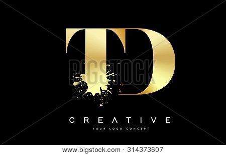 Td T D Letter Logo With Gold Melted Metal Splash Vector Design Illustration.