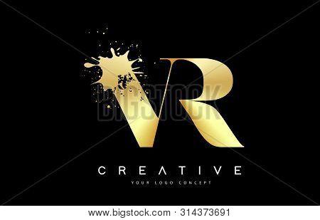 Vr V R Letter Logo With Gold Melted Metal Splash Vector Design Illustration.