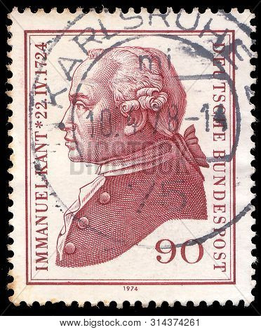 Germany -circa1974: Post Stamp  Printed In Germany Shows Portret Of Immanuel Kant - Was An Influetia