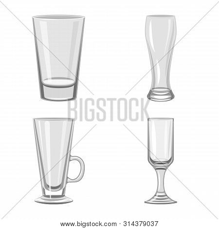 Vector Design Of Capacity And Glassware Sign. Set Of Capacity And Restaurant Vector Icon For Stock.