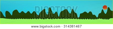 Cyan Sky, And Mountains Landscape. Abstract, Horizontal Texture Background Picture. Colorful Skinali