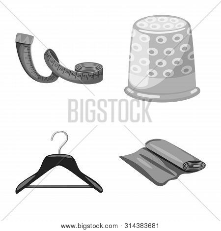 Vector Illustration Of Dressmaking And Textile Icon. Collection Of Dressmaking And Handcraft Vector
