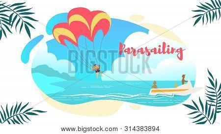 Parasailing Horizontal Banner, Man Under Parachute Hanging Mid Air. Having Fun In Tropical Paradise.