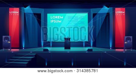Conference Hall, Stage For Presentation, Empty Dark Scene Interior With Tribune, Microphone, Glowing