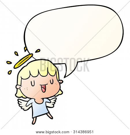 cute cartoon angel with speech bubble in smooth gradient style