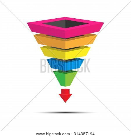 Infographics Of Lead Generation, Sales Funnel For Presentation Of Applications And Websites, 3d Simu