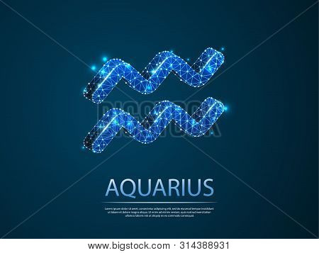 Aquarius Zodiac Low Poly Abstract Illustration Consisting Of Points, Lines, And Shapes In The Form O
