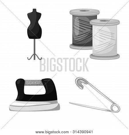 Vector Design Of Dressmaking And Textile Symbol. Set Of Dressmaking And Handcraft Stock Vector Illus