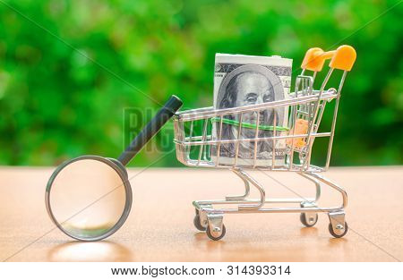 Dollars Banknotes In A Shopping Trolley And Magnifying Glass. The Concept Of Finding Sources Of Inve