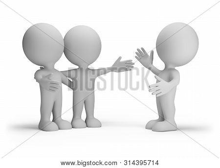 Joyful Meeting Of Three Friends. 3d Image. White Background.