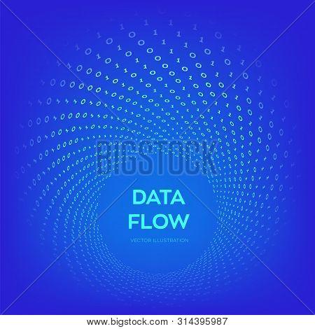 Data Flow. Digital Code. Binary Data Flow. Big Data. Virtual Tunnel Warp. Coding, Programming Or Hac