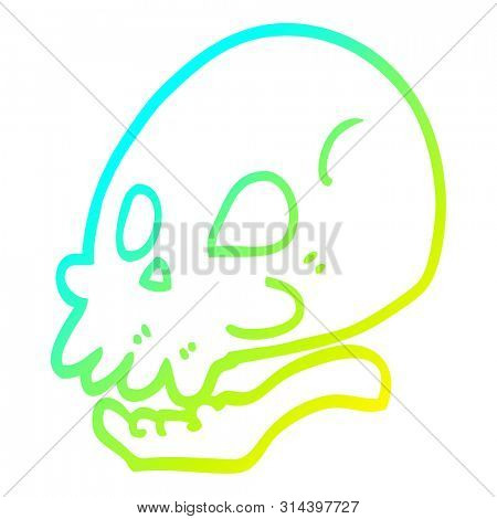 cold gradient line drawing of a cartoon skull