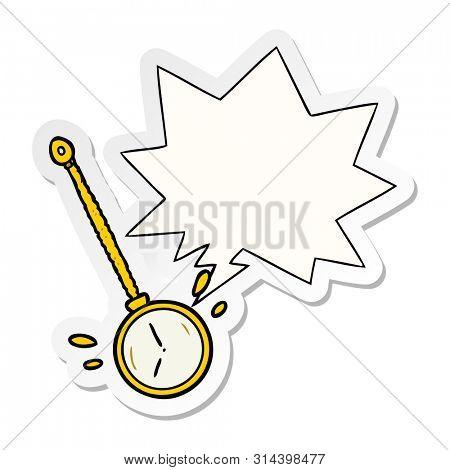 cartoon swinging gold hypnotist watch with speech bubble sticker