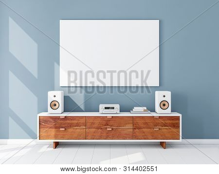 Horizontal canvas Mockup hanging on the Blue wall, hi fi micro system on bureau, 3d rendering poster
