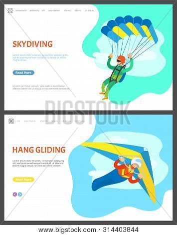 Skydiving And Hang Gliding Vector, People With Active Lifestyle, Skydiver And Paraglider. Sky And Cl