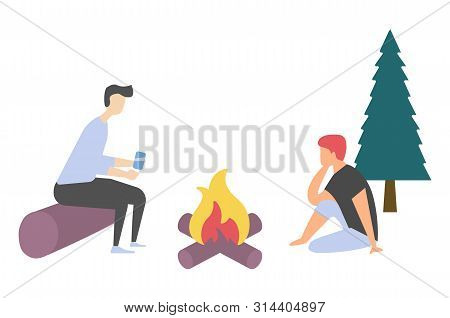 People Leisure Near Bonfire, Side View Of Man And Woman Characters Sitting On Log And Floor, Friends