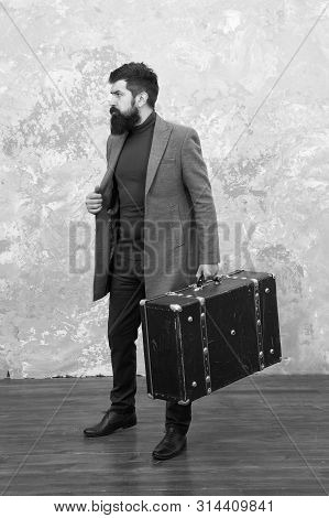Trendy Man With Travel Suitcase. Vintage Trip Bagage. Modern Life. Male Fashion Model. Mature Busine